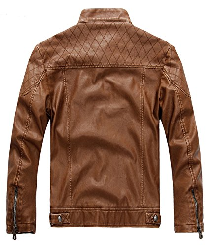 Jacket Leather Pu brown Vintage Men's Stand Collar Hzqm109 Chouyatou qpxW4Y6wAA