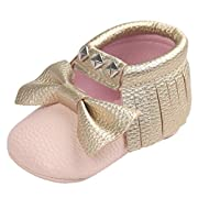 Voberry Baby Crib Bowknot Stripe Rivet Soft Sole Shoes Toddler Sneakers Casual Shoes (0~6M, Pink 1)