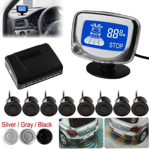 Waterproof 8 Rear and Front View Car Parking Sensors with Display Monitor (Black)