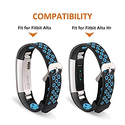Jobese Compatible with Fitbit Alta Bands & Alta Hr & Fitbit Ace Bands, (3 Pack) Two-Tone Soft Breathable Bands Compatible with Fitbit Alta/Alta Hr/Ace Silicone Replacement Wristbands Women Men