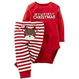 GRNSHTS Baby My First Christmas 2 Piece Red Bodysuit & Striped Pant Set (0-3 Months, Red)