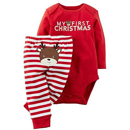 [GRNSHTS Baby My First Christmas 2 Piece Red Bodysuit & Striped Pant Set (0-3 Months, Red)] (Christmas Outfits Baby)