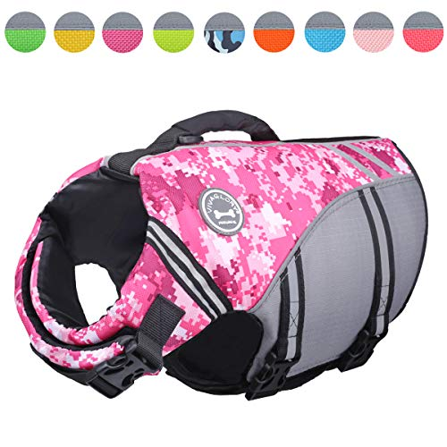(Vivaglory New Sports Style Ripstop Dog Life Jacket with Superior Buoyancy & Rescue Handle, Camo Pink, M)