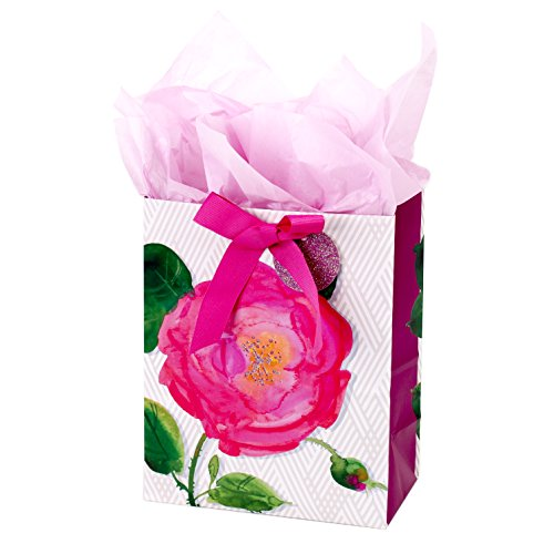 Hallmark Medium Gift Bag with Tissue Paper for Birthdays, Bridal Showers, Weddings or Any Occasion (Pink Rose)