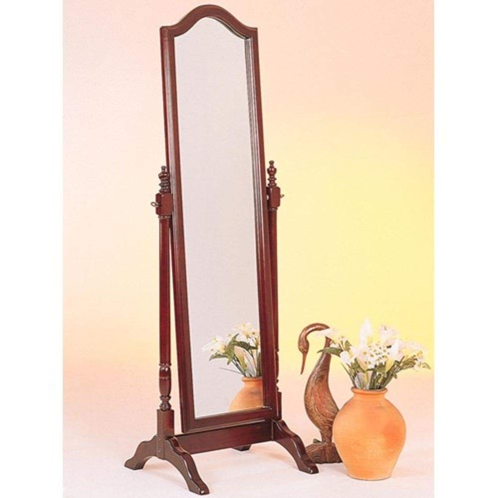 1PerfectChoice Accent Swivel Standing Full Length Cheval Floor Mirror Arch Top Wood Brown Red CO-3103