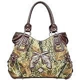 Roomy Western Cowgirl Revolvers Rhinestone Gun Pistol Camo Purse Camouflage (brown), Bags Central