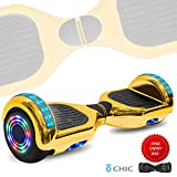 DOC Electric Smart Self-Balancing Hoverboard with Built in Speaker LED Lights Wheels Certified Hoverboard for Kids and Adults (Chrome Gold)