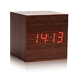 LED Wood Alarm Clock - Eluckey Wood LED Light Alarm Clock with Temperature and Time & Voice Control Desk Travel Digital Cube Wooden LED Clock (Brown)