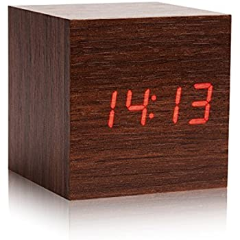 LED Wood Alarm Clock   Eluckey Wood LED Light Alarm Clock With Temperature  And Time U0026 Voice Control Desk Travel Digital Cube Wooden LED Clock (Brown) Nice Design