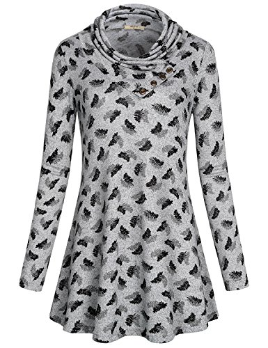 Miusey Lightweight Pullover, Women Lapel Neck Casual Top Flowy Hem Soft Surrounding Stretchable Comfort Office Easy Fit Comfy Classy Gorgeous Tunic Sweatshirt Fashionable Activewear Grey L]()