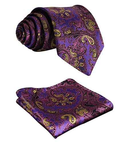 - BIYINI Mens Tie Floral Necktie and Pocket Square Set for Wedding Party Purple / Gold