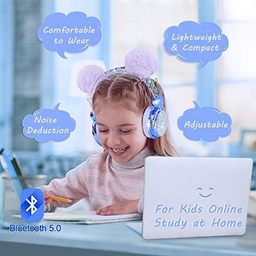 Kids Headphones Wireless POM POM Bear Ear 2021 Upgraded Bluetooth Headset w/Mic Adjustable Headband, Over On Ear Headset for Girls/Teens/School/Kindle/Tablet/PC (Bluetooth, Blue)