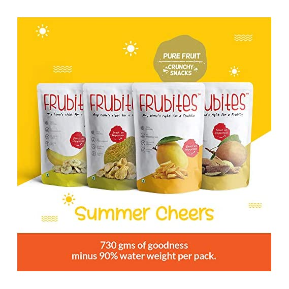 Frubites Summer Cheers Pure Natural, Vegan, No Preservatives, Clean Label Freeze-Dried Fruit Snack for Kids (Yummy and Crunchy Banana, Jackfruit, Mango and Chickoo, 76 gm) -4 Packs