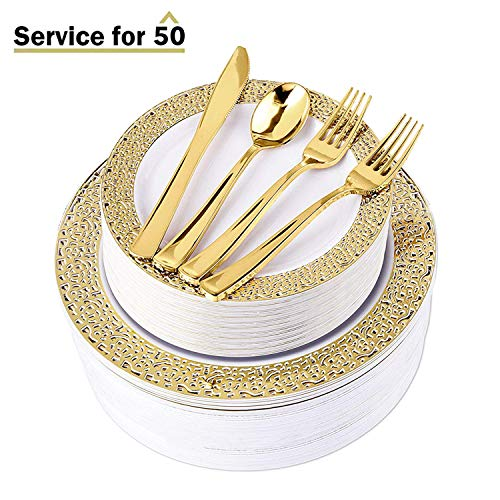 300-Piece Gold Lace Disposable Plates & Gold Plastic Cutlery - Service for 50 Guests Fancy Plastic Dinner Plates, Forks, Knives, Spoons - Elegant Plastic Dinnerware with Wedding Plates & Cutlery