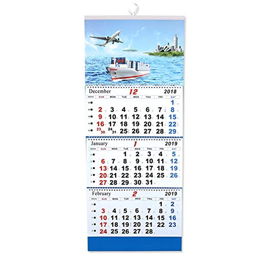Olpchee 2019 Wall Calendar 3 Side Display with Twin Wire Binding Ship Print Large Calendar for Office Home School (D) -