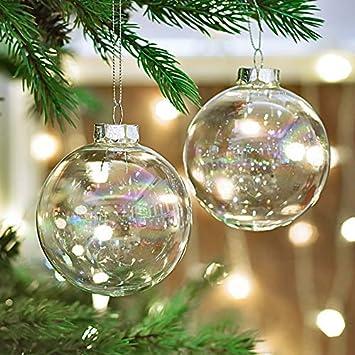 Transparente Christbaumkugeln.Victor S Workshop 4er Set 8cm Transparent Christbaumkugeln Weihnachtskugeln Glas Weihnachtsbaum Dekoration