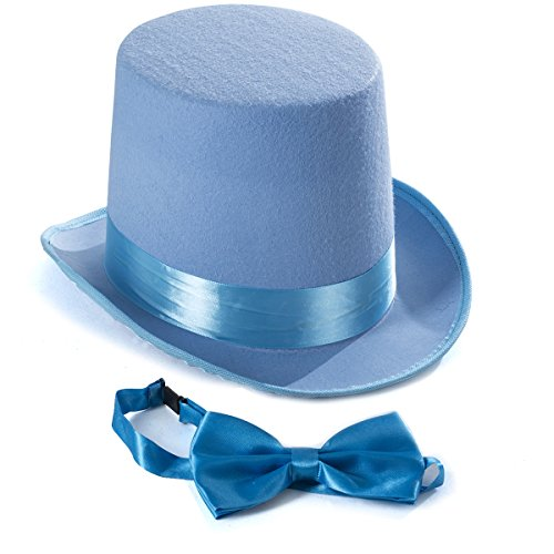 Tigerdoe Top Hat Costume - Top Hat with Bow Tie - Adult Costume Set -Costume Hats (Light Blue) -