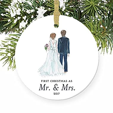 Bride & Groom Ornament 2017, First Christmas as Mr. & Mrs. Ornament, First Married Christmas, Wedding Gift 3  Flat Circle Porcelain Ornament w Glossy Glaze, Gold Ribbon & Gift Box | OR00314 Taylor