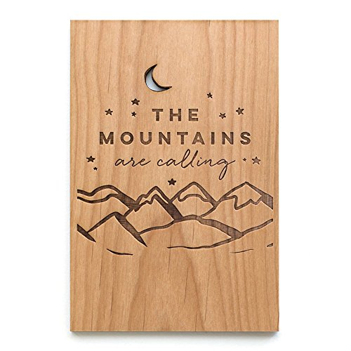 The Mountains are Calling Laser Cut Wood Greeting Card (Gratitude Card/Everyday/Unique Gift/Personalized (Flower Calling Card)