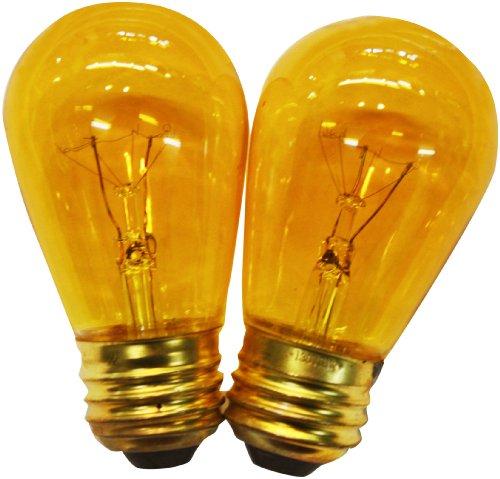 String Light Company S1411WA Amber S14 Light Bulb with E26 Base 11-Watt Pack of 12