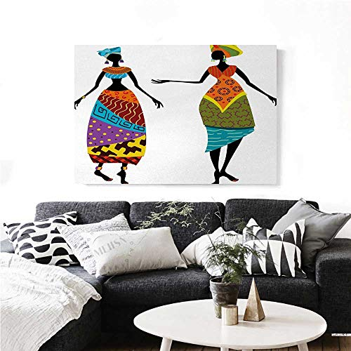 African Woman Canvas Wall Art Tribal Ladies in Traditional Costume Silhouettes Ethnicity Vintage Display Print Paintings for Home Wall Office Decor 24