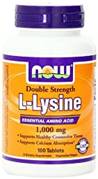 NOW Foods L-Lysine 1000mg, 100 Tablets (Pack of 2)