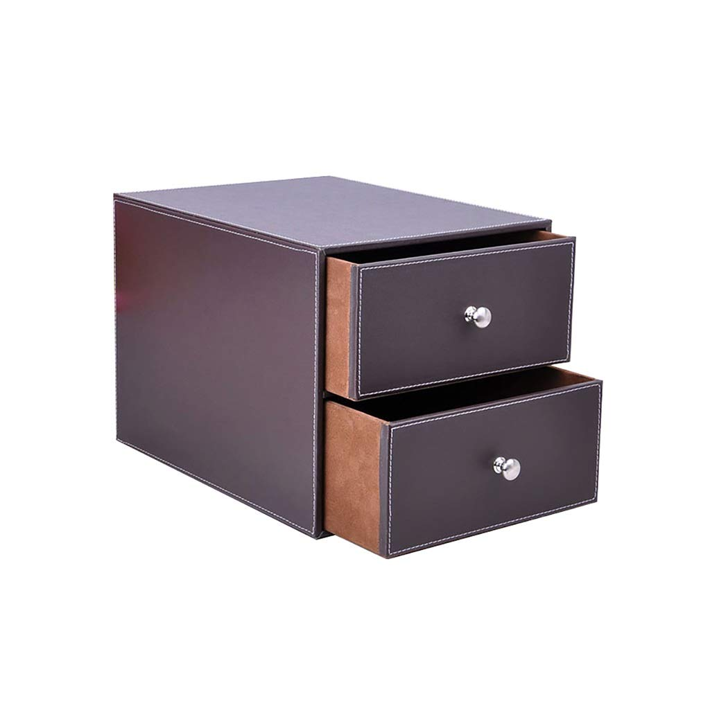 QSJY File Cabinets Document Storage Cabinet, Desktop Extension Drawer Office Organizer(PU Leather) 25.5x33.5x24.5cm (Color : A)