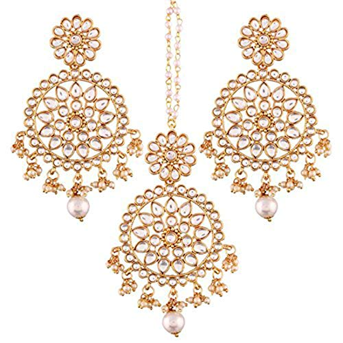Aheli Wedding Wear Indian Kundan Pearl Maang Tikka Earrings Set Bollywood Ethnic Traditional Jewelry for Women