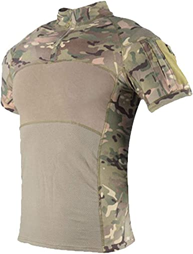 Kaiyei Hombre Camisas Tactica Militar Manga Corta Slim Fit Camuflaje Combate Resistente Desgaste Camisetas con 1/4 Cremallera Camping Caceria Bosque: Amazon.es: Ropa y accesorios