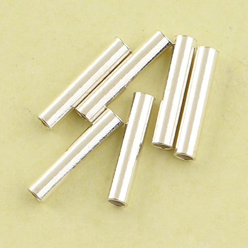 50 Pcs Size 10mm X 2mm 925 Sterling Silver Tiny Tube Beads ()