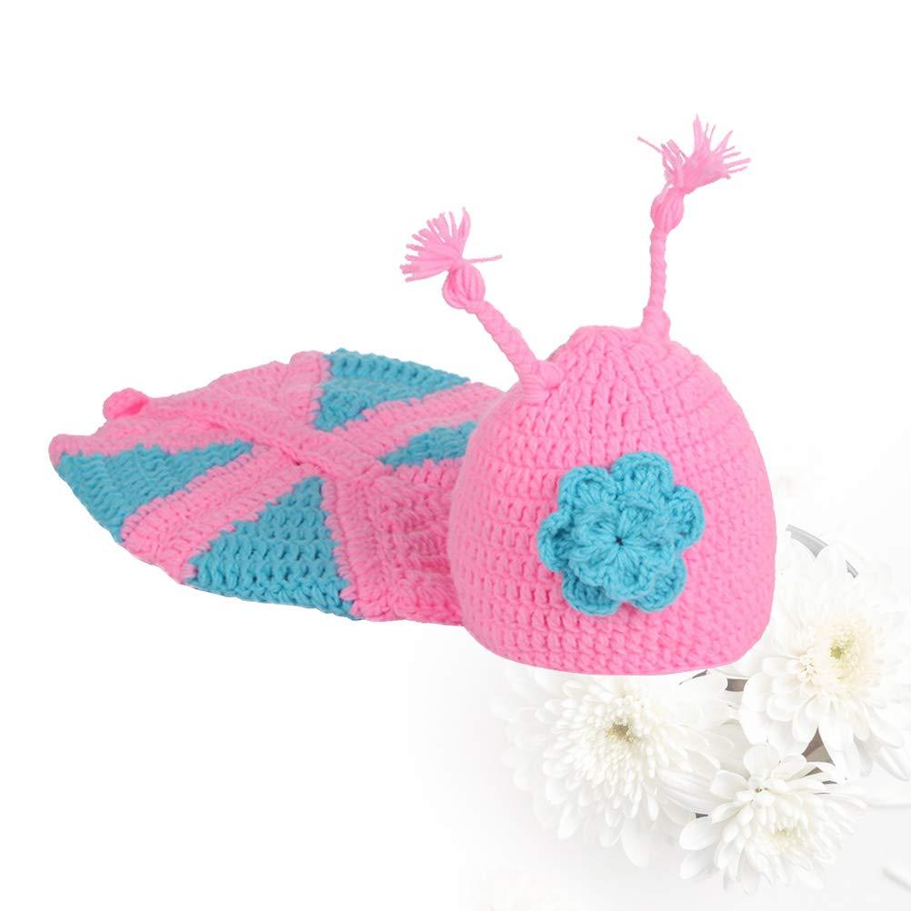 Toyvian Prese di farfalla Handmade neonato Fotografia Puntelli Abbigliamento Set lavorato a mano alluncinetto Baby Photography Suit Outfit costume
