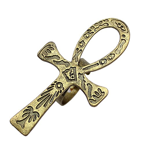 Q&Q Fashion Tribal Egypt Egyptian Life Carved Ankh Cross Reiki Wicca Pagan Boho Band Ring