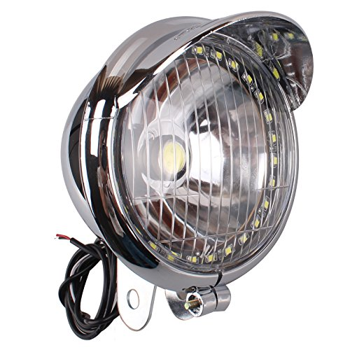 Motorcycle Headlight Front Lamp Chrome with LED Angel Eye Universal for Bobber Chopper Cruisers (Chrome Chopper)