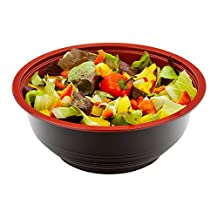 Medium Asian Panda Microwavable 24-OZ Bowl - PP Black and Red with Clear Plastic Lid: Perfect for Catering Events and Restaurant Takeout – Disposable and Eco-Friendly – 200-CT