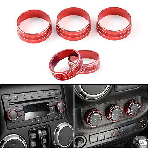 Jeep Wrangler Renegade (JeCar Interior CD Audio Button Cover& Air Conditioning Button Cover Decoration Switch Ring Trim for 2011 -2017 Jeep Wrangler JK 2011-2015Renegade/2010-2015 Compass Patriot(Red))