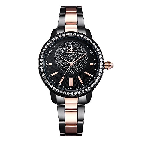 SK Black Elegant Women Watches Stainless Steel Diamond Face Crystal Luxury Female Wrist Watch Girl Clock Relogio Feminino (K0075-Black) by SK