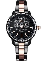Women Easy Reader Date Expansion Watch Ladies Quartz Clock Female Bracelet Quartz Wrist Watch (0075 Black)