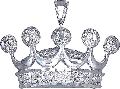 Crown Charm Pendant Necklace - eJewelryPlus Sterling Silver King Crown Charm Pendant Necklace Diamond Cut Finish with Chain (Without Chain)