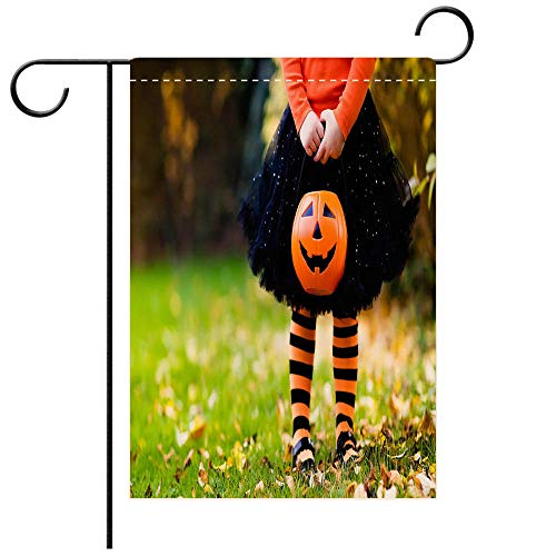 BEICICI Double Sided Premium Garden Flag Little Girl on Halloween Trick or Treat in Fall Forest Best for Party Yard and Home Outdoor Decor]()