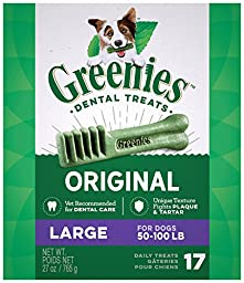 GREENIES Dental Dog Treats, Large, Original Flavor, 17 Treats, 27 oz.