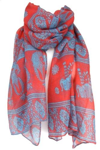 "Evolatree - Large Decorative Shawl Scarf Sarong - Paisley - Coral Pink & Baby Blue - 74"" x 38"""