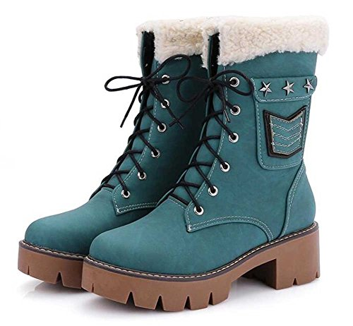 CHFSO Womens Fashion Waterproof Rivets Lace Up Faux Fur Lined Mid Chunky Heel Platform Ankle Martin Snow Boots Blue 8JAsqDCwvN