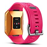 For Fitbit Ionic Bands, Marval Power Soft TPU Replacement Fitness Accessory Sport Straps Wristband for Fitbit Ionic Smartwatch Men Women, Large Small(Hot Pink,Small)