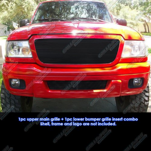 Compatible with 2004-2005 Ford Ranger All Model Black Billet Grille Grill Combo Insert S18-H93018F