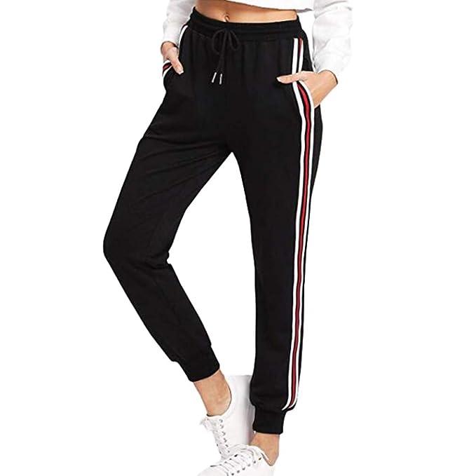 Pantaloni Sportivi Donna, Striscia Laterale Pantaloni della Tuta Pantaloni Lunghi Vita Elastica con Coulisse, Allenamento Ginnastica Corsa Palestra