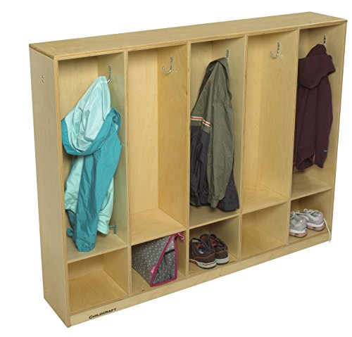 Childcraft Coat Locker, 5 Sections, 53-3/4 x 9-5/8 x 42 Inches ()