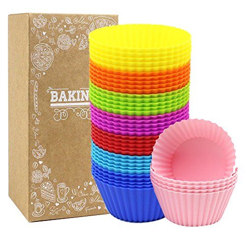 HEHALL 40pcs Silicone Muffin Molds Cupcake Baking Cups Pans Liners, 8 Colors