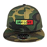 Jah Love Green Yellow Red Embroidered Patch Camo Flat Bill Snapback Mesh Cap - OLIVE