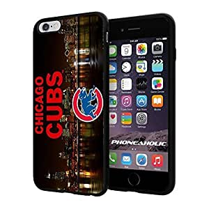 """MLB Chicago Cubs Skyline Baseball,Cool iPhone 6 Plus (6+ , 5.5"""") Smartphone Case Cover Collector iphone TPU Rubber Case Black"""