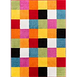 "Well Woven 09534 StarBright Bright Square Modern Geometric Multi 3'3"" x 5' Kids Area Rug"